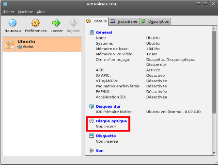 Sélection de la source d'installation - VirtualBox