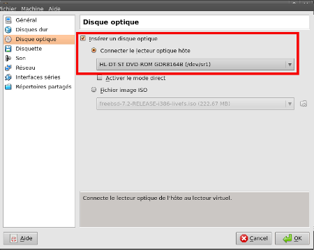 Sélection de la source - VirtualBox